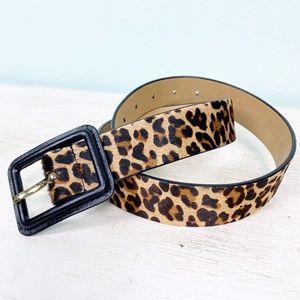 TALBOTS brown leopard BELT black buckle sz SMALL